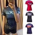Mulheres de alta Qualidade T-shirt Do Corpo Armadura traje Maravilha Capitão América/superman/homem aranha T Camisa Da Menina Calças De Fitness