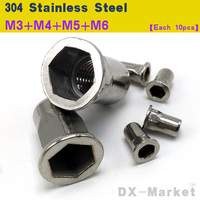 M3 M6 Each 10pcs Stainless Steel Insert Nut Semi Hexagon Riveting Nuts High Quality Sus 304antirust