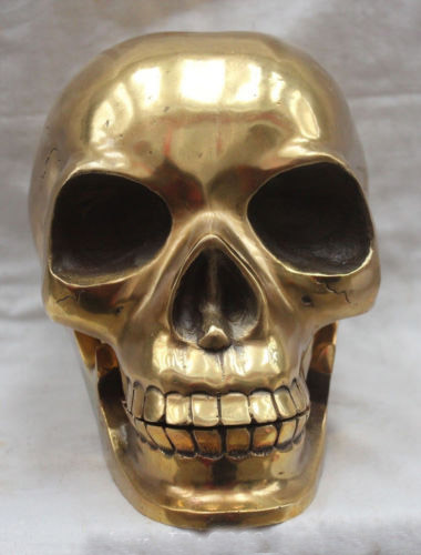 Chinese Brass Crafted Human Skull Skeleton human head Statue Sculpture Chinese Brass Crafted Human Skull Skeleton human head Statue Sculpture