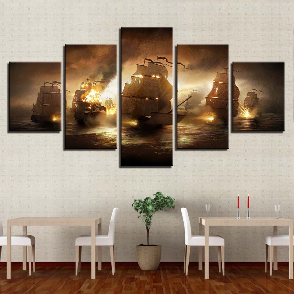 Naval battle Modern Decorative HD Print Wall Art Canvas Painting Artwork Landscape Home For Living Room