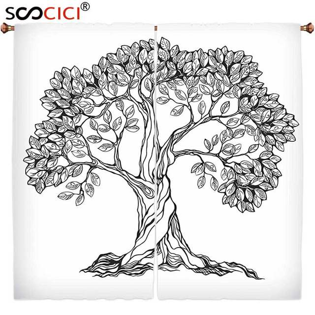Window Curtains Treatments 2 PanelsNature Tree Of Life Themed Majestic Hand Drawn Branches Harvest Mother Earth Design Light