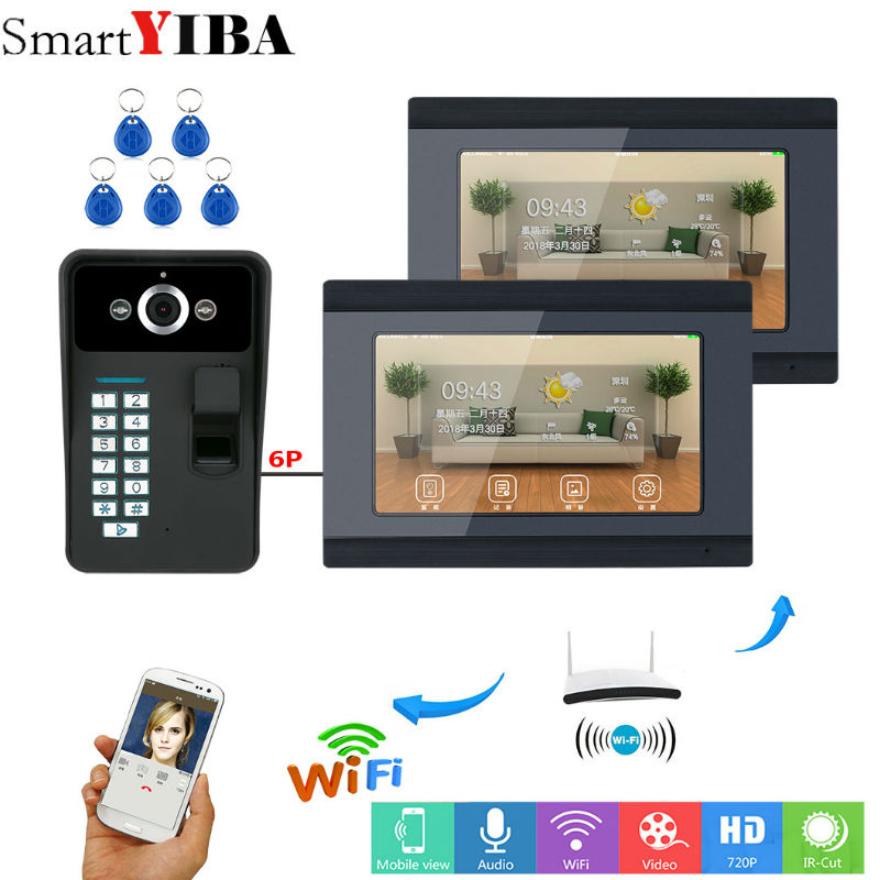 SmartYIBA 7 Inch 2 Monitors Wired / Wireless Wifi RFID Password Video Door Phone Doorbell Intercom System With HD 1000TVL Camera