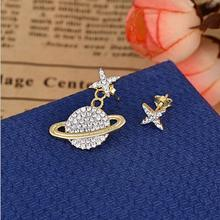 gold filled fashion jewelry sparking star Saturn unique women girl trendy nice jewelry design charm earring