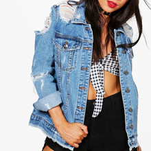 2019 Fashion Women Denim jacket Plus Size Windbreaker Ripped Streetwear Boyfriend Jean Bomber Jacket Coats A060 недорого
