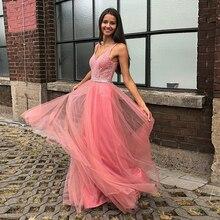 Bbonlinedress Beaded Prom Dress Sexy Backless Long Pink Evening vestido de fiesta largos noche elegante 2019