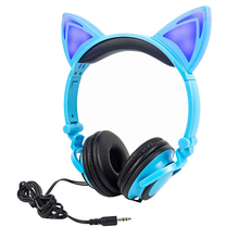 LIMSON Wired Kids Blue Headphones Foldable Cute Animal Cat Ear Earphone for Smartphone PC Computer MP4