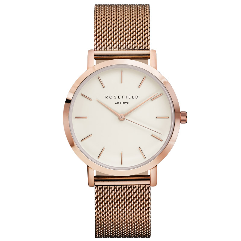 Ladies Ultra-Thin Watch - rose gold - mesh link strap
