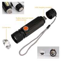 Mini USB práctico potente COB LED linterna Zoomable linterna recargable USB imán Flash Luz de bolsillo lámpara de Camping incorporada 18650