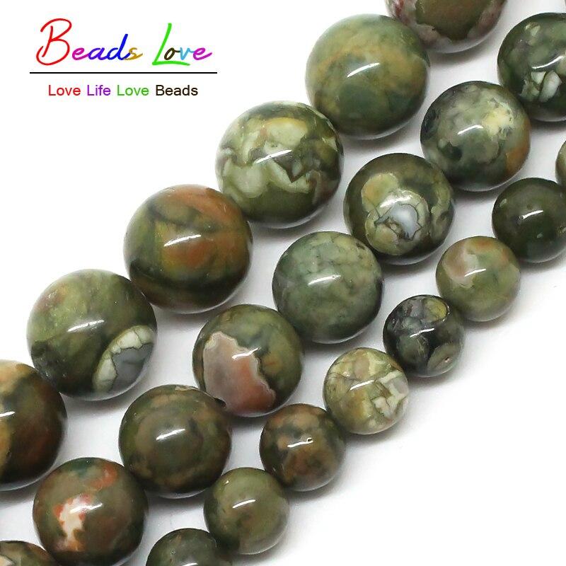 Natural verde antigo kambaba grânulos de pedra 6mm 8mm 10mm para fazer jóias diy 15 polegadas (f00580)