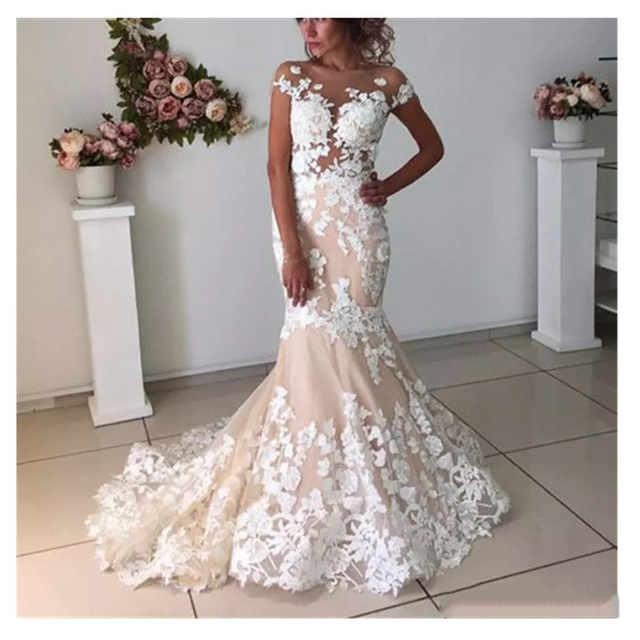 Champagne Mermaid Wedding Dresses Sexy Backless Cap Sleeve 2019 Robe de mariee Vintage Lace Bridal Gown