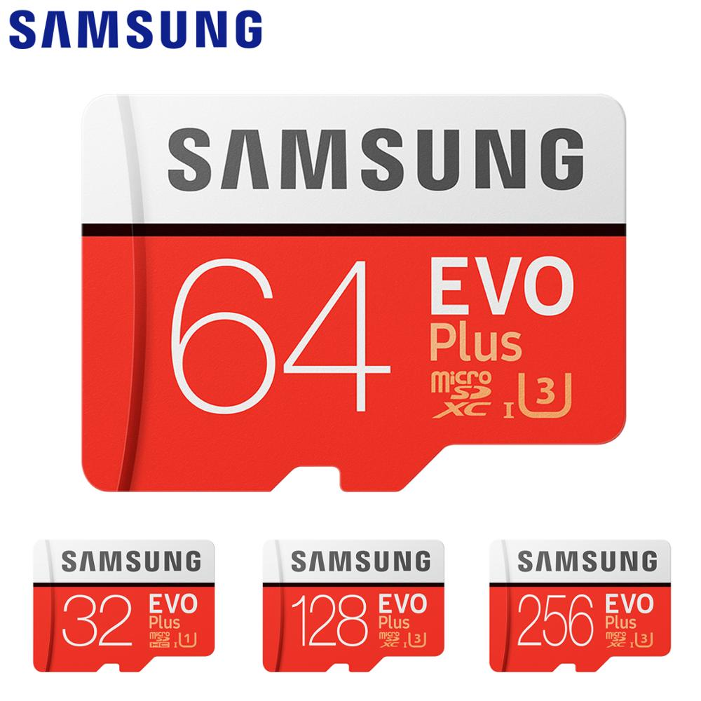 SAMSUNG Memory Card EVO Plus+ 32G SDHC MicroSD 64GB 128GB 256GB 4K 100MB/s SDXC Class 10 Micro SD C10 UHS TF Trans Flash Cards