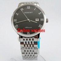 41 мм Debert черный циферблат Нержавеющаясталь Miyota автоматические Для Мужчин's Повседневное наручные часы