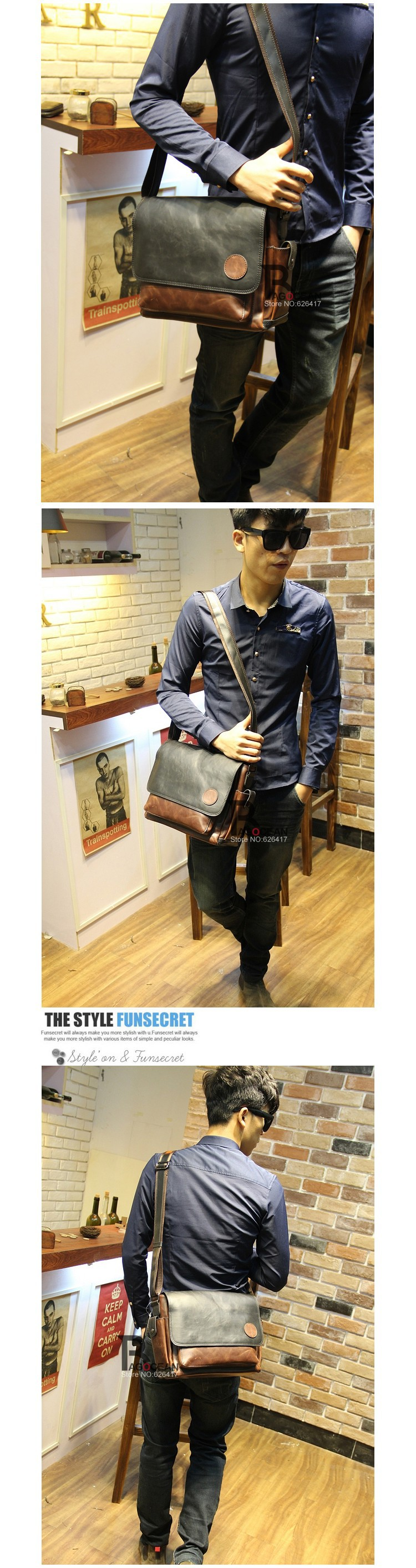 New Vintage Style Men Crazy Horse PU Leather Shoulder Travel Bags Cross Body Messenger Bags Students School Bag Casual Bags 22