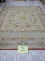 Free Shipping 8'X10' French Aubusson Rug, 100% hand woven New Zealand woolen rug--Light Grey Green field