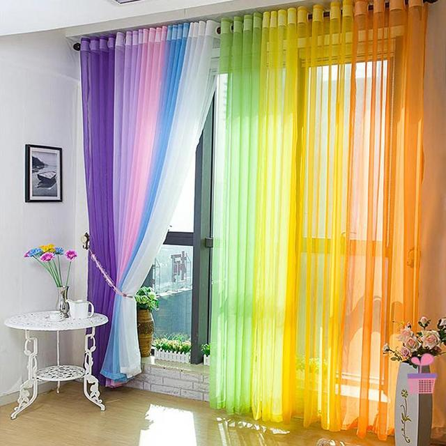 Multicolor Door Window Curtain Sheer Voile Divider Drape Panel Scarf Valance Curtains For Living Room Rideaux Pour Le Salon