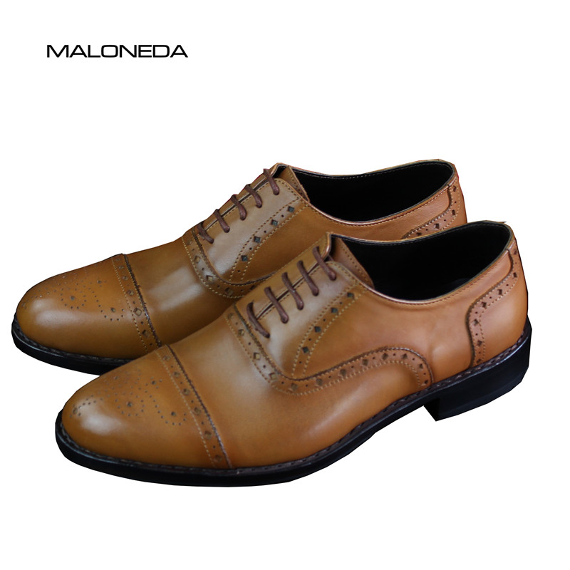 MALONEDA Handmade Mens Brogue Leather Shoes Fashion Oxfords Genuine Leather Formal Dress Shoes With Goodyear WeltedMALONEDA Handmade Mens Brogue Leather Shoes Fashion Oxfords Genuine Leather Formal Dress Shoes With Goodyear Welted