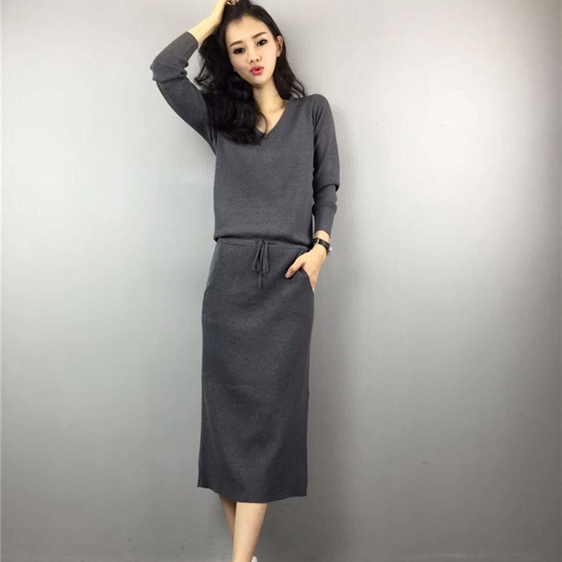 Lace Girl Women Casual Knitted Long Dress Spring 2018 New Fashion Dresses Split Loose Long Sleeve V-neck Bandage Elegant Dress