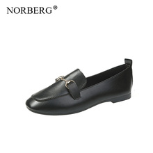 цена на NORBERG 2019 autumn women flats shoes women genuine metal shoes woman cutout loafers slip on ballet flats ballerines flats