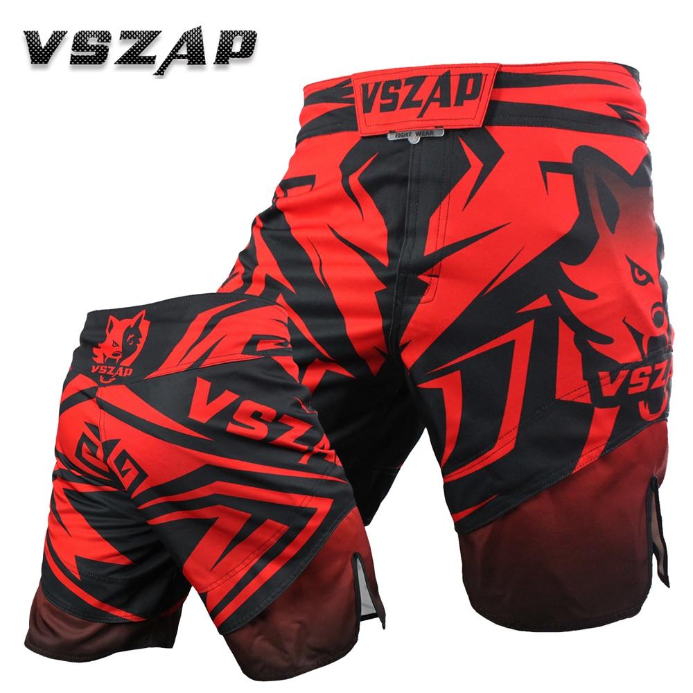 VSZAP Pantalones cortos deportivos Entrenamiento sin reglas Boxer Shorts Muay Thai Ropa Corto Mma Sanda Algodón transpirable suelto Boxeo