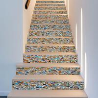 6pcs 3D Stair Stickers Colorful Stone Pattern Self Adhesive Stickers Wallpaper PVC Home Decoration Hotel Decal