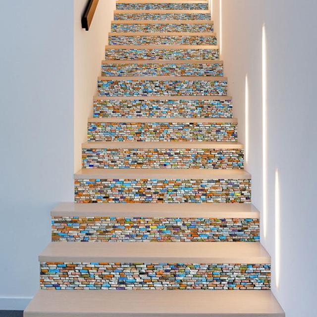 6 Stücke 3D Treppen Aufkleber Bunte Stein Muster Treppen Abdeckungen Treppen  Dekoration Selbstklebende Tapete Aufkleber 100x18