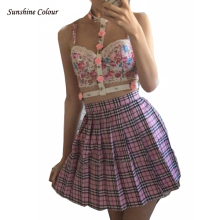 2016 Hot Midi Pleated Women Skirts High Waist Pink A-Line Short  Skirts Uniforms School Tartan Plaid Skirt Saias