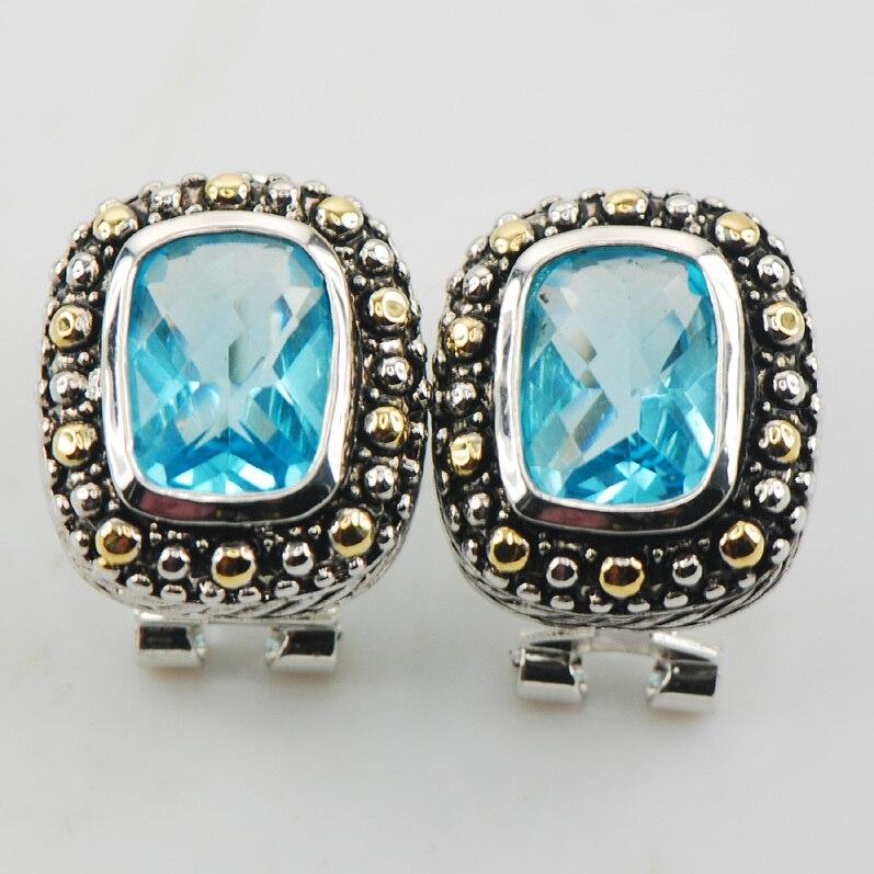 78f171b47a2c №Nuevo azul cristal ZIRCON mujer 925 Plata cristal Pendientes te485 ...