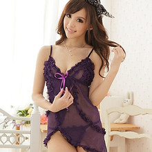 Women Sexy Lingerie Hot Lovely Sheer Folded Nightwear With G-string Lady Babydoll Products 2015