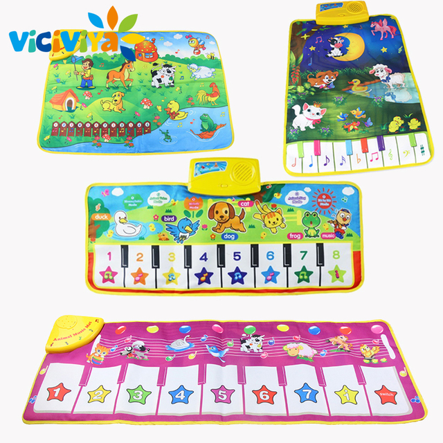 4 Design Music Blanket Musical Learning Mat Colorful Animal Farm Flash Play Mats Baby Toys Music Carpet Touch Toy for Baby Kids/