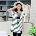 2016 New Fashion Summer Fashion Loose Plus Size Maternity O Neck Pregnant Short Sleeve Striped Dress WIth Pocket
