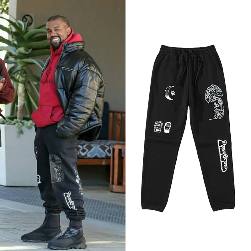 Kanye West Black Printed Sweat Pants Men Europe And America Hip Hop Joggers Urban 2019 Streetwear Loose Casual Trousers Male