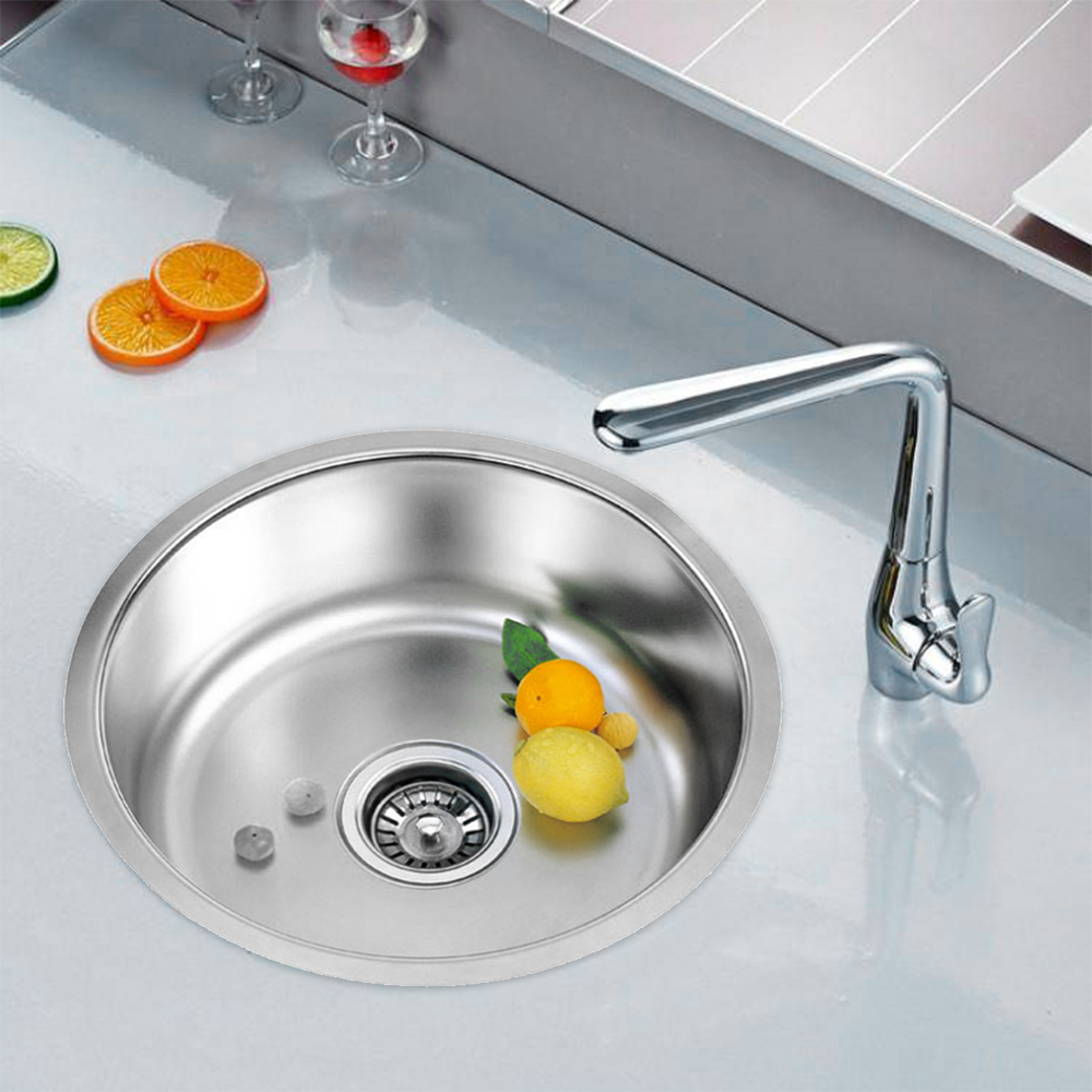Single Kitchen Sink Stainless Steel Kitchen Sink Single Slot Dish Basin 41x41cmx20cm With Drain Basket And Drain Pipe