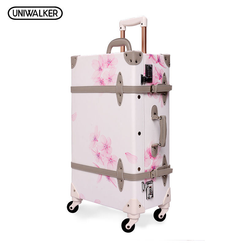 UNIWALKER 20 - 26 Vintage Rolling Luggage Bagages Pu Leather Suitcase Trunk Retro Luggage With Spinner Wheels for Girls vintage suitcase 20 26 pu leather travel suitcase scratch resistant rolling luggage bags suitcase with tsa lock