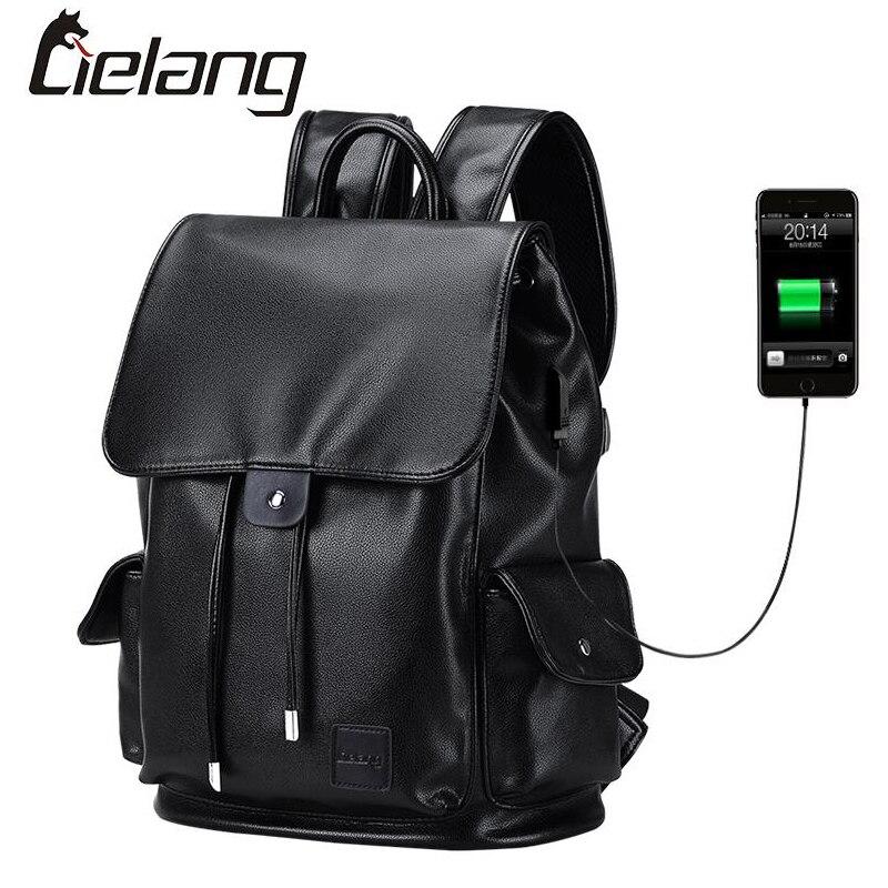 ФОТО LIELANG Backpack Men Top Quality Leather Backpacks Double Shoulder Bags Japan and Korean Style School Bag USB Charge Waterproof