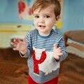 2017 Ropa de Los Niños camisa de Ovejas de la Historieta de Rayas Chica camiseta de Algodón Niñas Niños camiseta de los niños