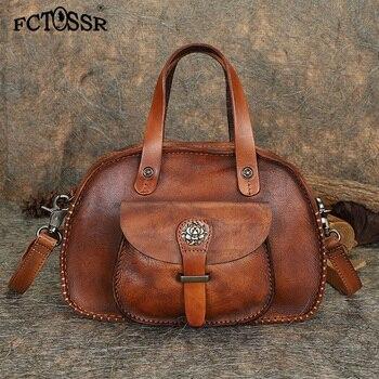2019 Summer Fashion Original Design Women Crossbody Bag Handmade Leather Lady Top-handle Handbag Vintage Shoulder Bag