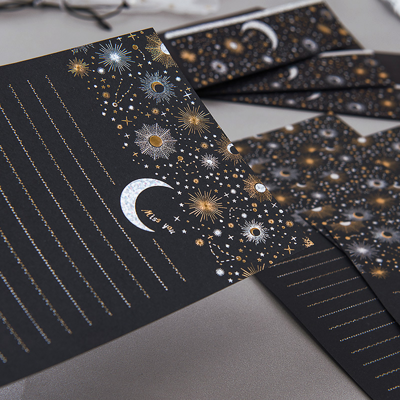 Vintage Paper Letter Europe Type High-end Bronzing Starry Moon Blessing Letter With Envelope Writing Paper Office Stationery