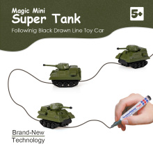 GOLD LIGHT Magic Mini Tank Inductive Tank Car Toy Follow Black Drawn Line Hot Inductive Toy Vehicles Kids Christmat Gifts 2017(China)