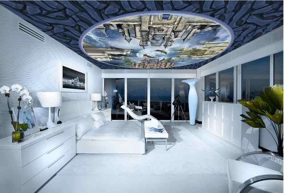 Personalizzato 3d soffitto Inverno Nevoso Castle 3d stereoscopico soffitti affrescati wallpaper 3d soffitto moderna foto wallpaper cielo soffitto