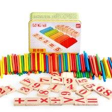 Деревянные Обучающие игрушки Монтессори для детей в железной коробке, 100 штук, цифровой математический набор, детский подарок