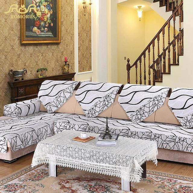 Romorus 1 Pc Europe Striped Quilted Sofa Cover Armrest Slipcover White Fabric Couch Covers Sectional Seat