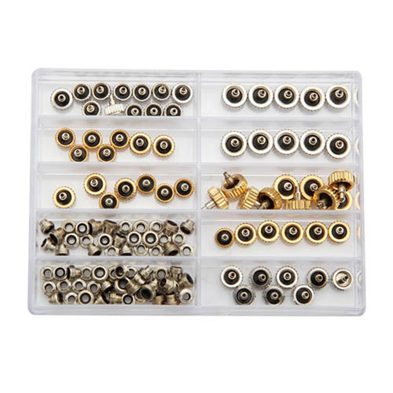 Best Promotion Brand New 60pcs Watch Crown for Rolex Copper 5.3mm 6.0mm 7.0mm Silver Gold Repair Accessories Assortment Parts