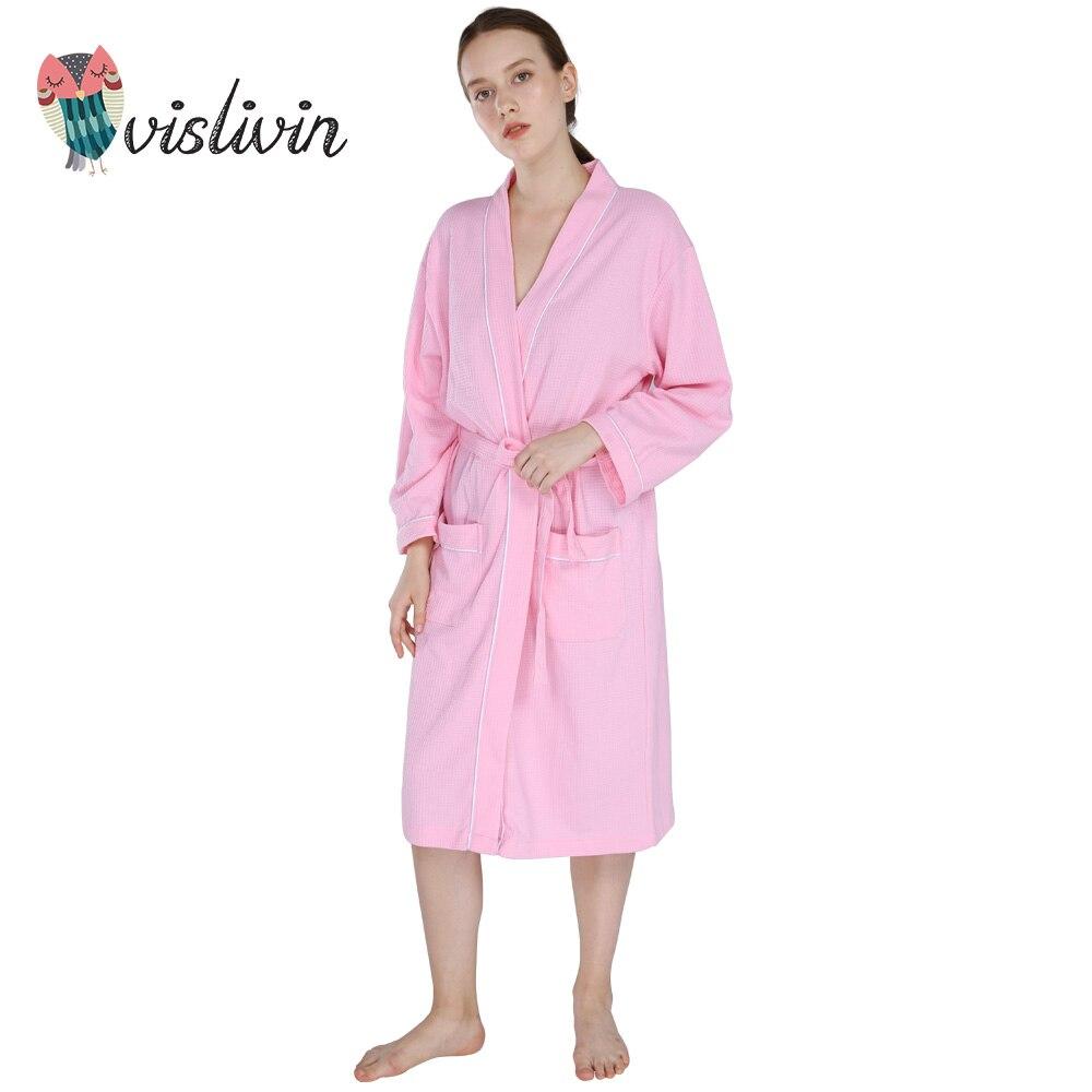 Vislivin Women Winter Robe Thick Lounge Autumn Warm Coat Long Sleeve Cotton Sleepwear Unisex Homewear Pajamas More Color