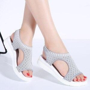 Image 4 - WDZKN sandales dété à mailles dair pour femmes, chaussures dété à bout ouvert, sandales respirantes, plateforme, collection 2020