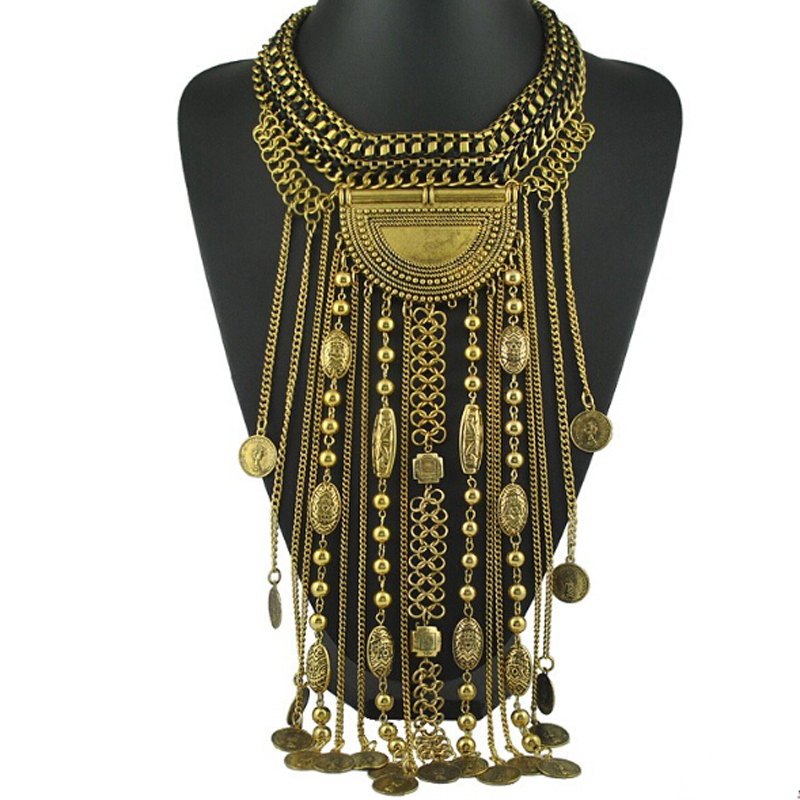 Bohemia Women chic maxi Necklace Fashion Vintage long tassel pendant Statement Necklaces & Pendants Collares Jewelry Women Gift