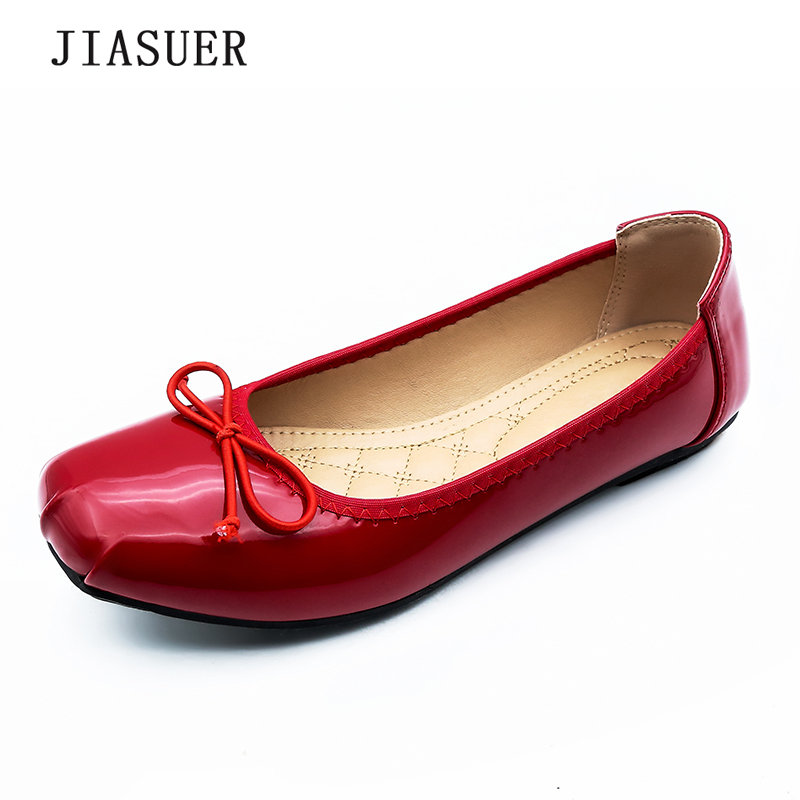 Size35-41 Ballet Flats Shoes Woman 2017 Women Ballerina Shoes Slip-on Red Apricot Black Leather Casual Sweet Bowtie Handmade hee grand sweet faux fur slippers fashion flats shoes woman slip on bowtie winter warm women shoes 4 colors size 36 41 xwt966