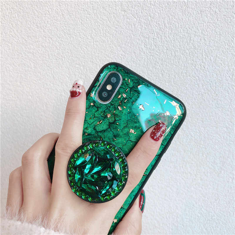Green emerald marble pattern diamond extension bracket shiny silicone cover  case for iphone MAX XS XR 56aa74411c19