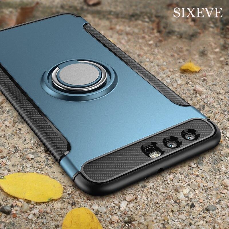Sixeve для Huawei Honor 9 Премиум Honor 9 lite случае Роскошные TPU + PC Твердый переплет аксессуары для Honor 8 Lite 9 палец кольцо крышки ...