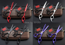 6Inch Kasho 4 Colors Paint Cutting Scissors and Thinning Scissors Kits,Professional Hair Scissors with Red Flame Screw,1set