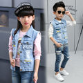 Denim Boys Girls Vests Baby Vest Kids Clothes Children's Clothing Boy Girl Jeans Sleeveless Solid Letter Child Outerwear&Coats